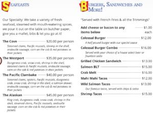 アメリカ、シアトルのおすすめレストランのメニュー