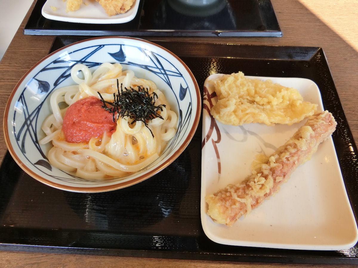 Udon noodles and tempura at Marugame seimen