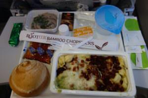 finnairの機内食のパスタ