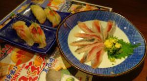 Sashimi and nigiri sushi at a restaurant in Japan