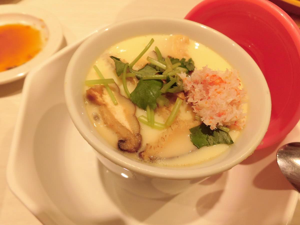 Chawanmushi, egg custard at kaitenzushi restaurant