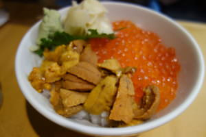 Rice bowl with sea urchin (uni) and cod roe (ikura)