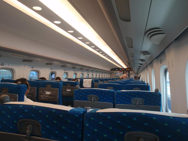 Inside a bullet train (shinkansen) in Japan