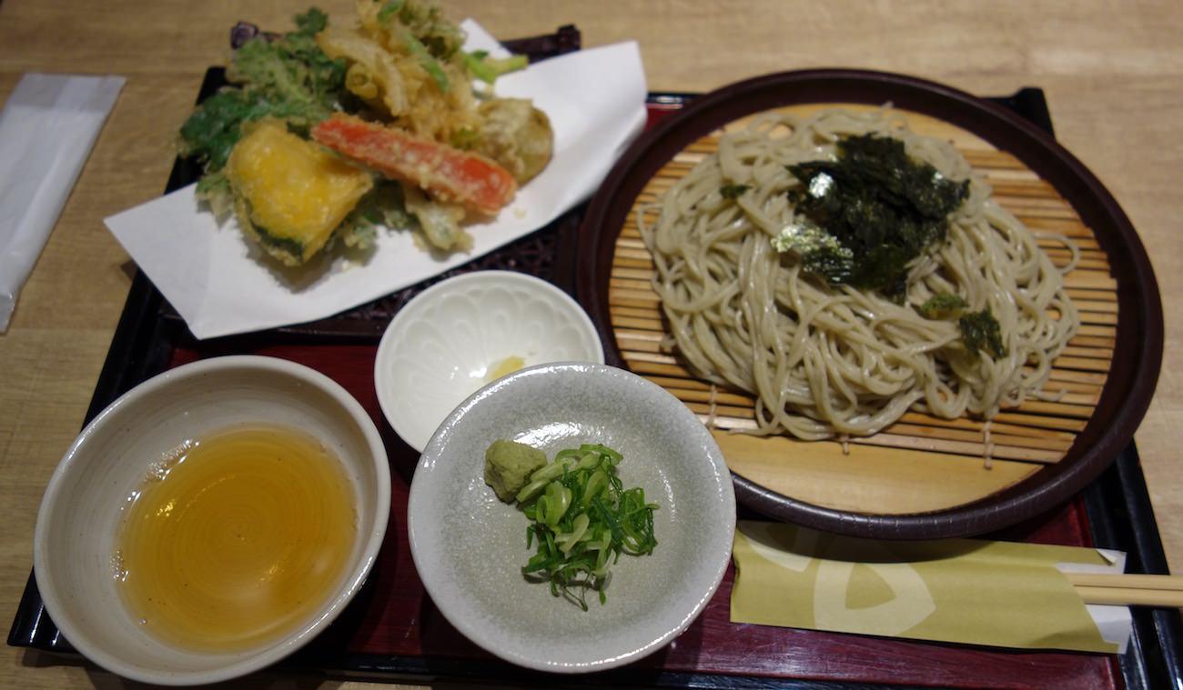 Zaru soba with tempura
