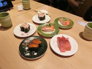 Sushi at conveyor belt sushi restaurant (kaitenzushi)
