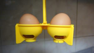 Something you never thought you would need but is actually useful: a tool for taking eggs up from the water. Also work nicely in breaking them.
