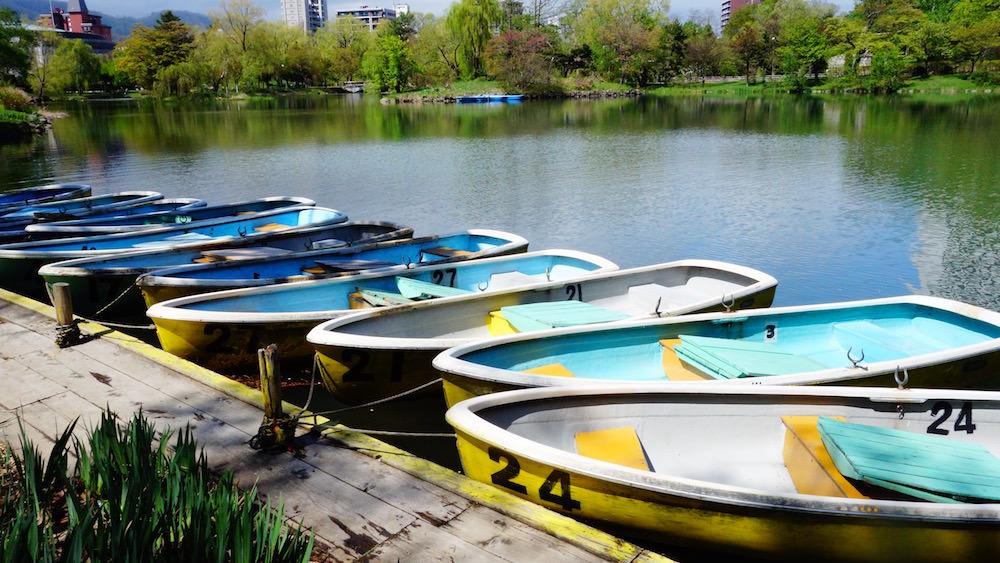 中島公園でボートに乗れる